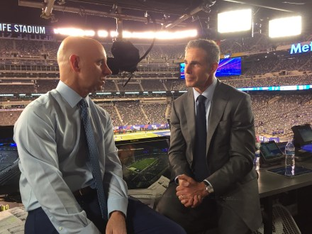 """Ryan, Terry and I are very honored that HBO wanted to do a feature about us,"" said Sean McDonough (L), pictured with HBO's Jon Frankel. (Photo courtesy of HBO Sports)"