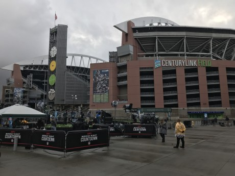 "Monday Night Countdown's first hour in Seattle tonight will be a tailgate with the Seahawks' ""12s."" (Neeta Sreekanth/ESPN)"