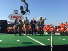 (L-R) Suzy Kolber; Steve Young; Randy Moss; Matt Hasselbeck; Charles Woodson mingle with fans outside Arrowhead Stadium in Kansas City. (Allison Stoneberg/ESPN)