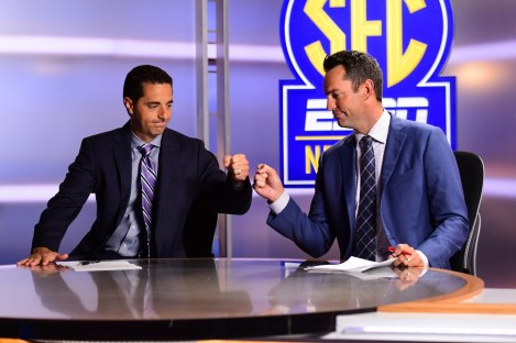 """Peter Burns (R, with SEC Network colleague Dari Nowkhah here) says, """"I received such an overwhelming response"""" to his """"Worst Day Ever"""" Facebook posts. (Phil Ellsworth/ESPN Images)"""