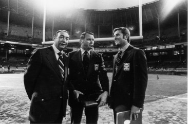 (L-R) Howard Cosell, Keith Jackson and Don Meredith called the first MNF game Sept. 21, 1970 between the New York Jets and the Cleveland Browns. (ABC Sports Archives)