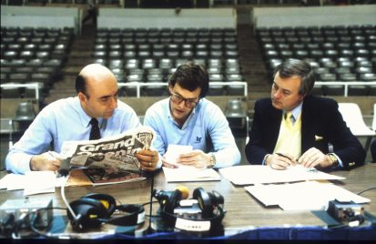 Circa 1980s: (L-R) Dick Vitale, former ESPN executive John Wildhack and Mike Patrick prepare for a college basketball telecast. (Mike Smeltzer/ESPN Images)