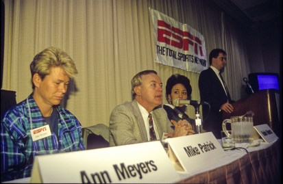 Nov. 1, 1996: Commentators (L-R) seated Ann Meyers, Mike Patrick and Robin Roberts participate in a panel discussion. (Stephanie Chesson/ESPN Images)