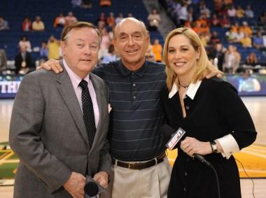 2008: Mike Patrick (L), Dick Vitale and Doris Burke. (Scott Clarke/ESPN Images)
