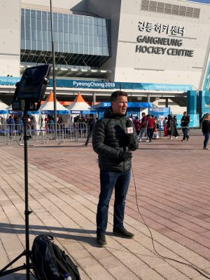 ESPN's T.J. Quinn reports from outside the Winter Olympics ice rink in South Korea. (Photo courtesy of T.J. Quinn/ESPN)
