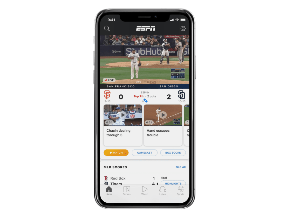 ESPN+ depicted on an iPhone Homescreen.
