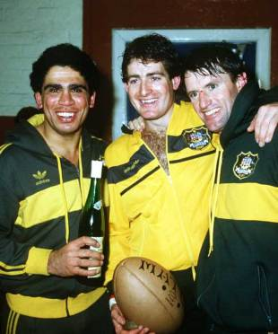 Mark Ella, David Campese and Andrew Slack celebrate victory over Scotland, Scotland v Australia, Murrayfield, December 8, 1984