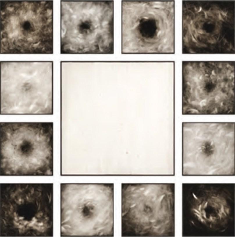 ETTORE FRANI. ABITARE L'ATTESA 2011 olio su tavola tavola centrale 65x65 cm, 12 tavole 30x30 cm cad.