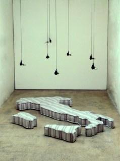 """Marco Bernardi,""""Italietta con allodole"""", 2011, stoffa gommapiuma ferro legno piombo gomma motore elettrico, cm 220x110x17, courtesy of Exelettrofonica"""
