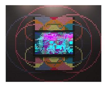 Vincenzo Marsiglia, Star Interactive 2009 installazione, cm 240x300 Stampa digitale, software, webcam, lcd e feltro
