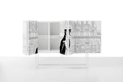 Contenitore San Marco / Cabinet San Marco, cm 228x140x48 laccato opaco su base in metallo verniciato / matt lacquered on metal varnished base | Corto Maltese® Hugo Pratt TM ©Cong Sa. Losanna