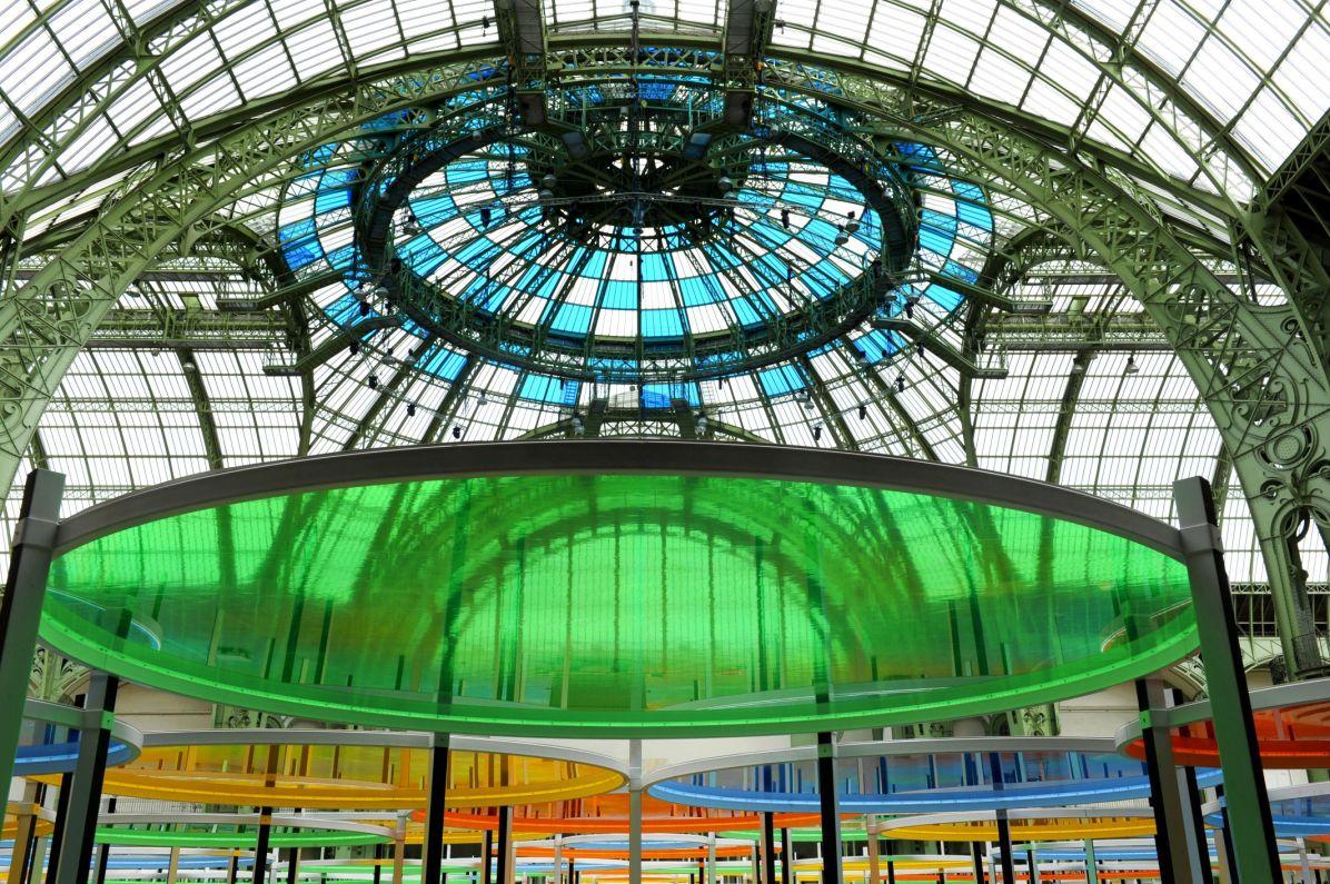 Daniel Buren, « Excentrique(s), travail in situ », 2012, 380 000 m3. Détail. Monumenta 2012 – Daniel Buren, Paris