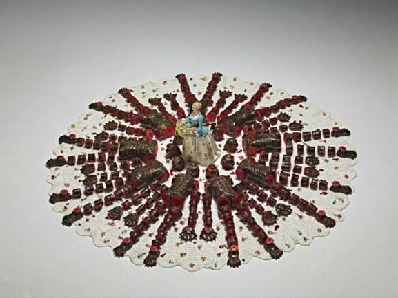 Andrea Salvatori, Big Mandala, 2005, ceramica, porcellana e centrino di cotone, cm 24x130x130