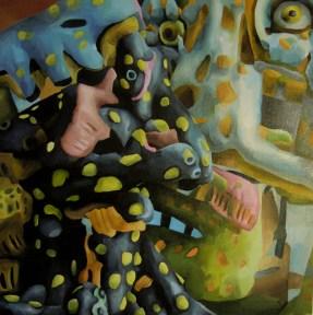 Marta Sesana, L'acne, 2012, olio su lino, cm 50x50