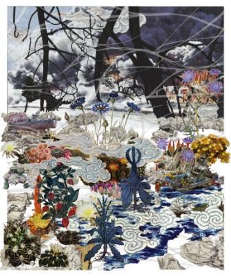 Francesco Simeti, Untitled 2012, wallpaper e paravento, installazione ambientale. Courtesy di Aike-Dellarco Shanghai, Galleria Francesca Minini, Milano