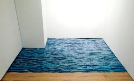 Guo Hongwei, A Page of Ocean, 2011, acrilico, 2,11 x 2,49 m, e A Page of Ocean, 2011, acrilico su tavola, 61 cm x 51 cm. Courtesy di Leo Xu Projects, Shanghai