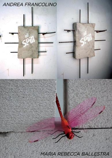 Galleria SPAZIO TESTONI LA 2000+45, Andrea Francolino 'Oil Spill' cemento armato e vernice cm.60x60x10 2012 Maria Rebecca Ballestra 'I'm because yo