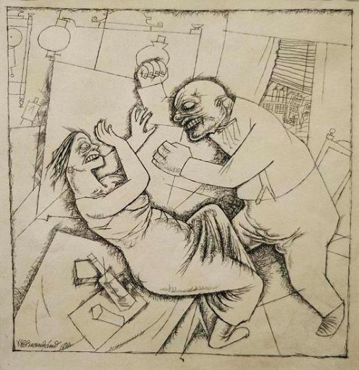Galleria DE'FOSCHERARI, George Grosz, 'Delitto sessuale' 1916 china cm.23x23