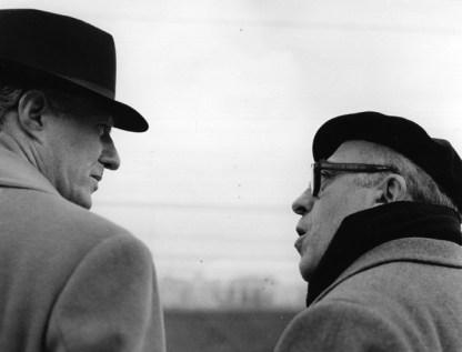 Vittorio De Sica e Cesare Zavattini durante i sopralluoghi per il film Il tetto, 1955-56