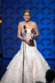 """The Oscar® for performance by an actress in a leading role goes to Jennifer Lawrence for her role in """"Silver Linings Playbook"""" during The Oscars® from the Dolby® Theatre in Hollywood, CA, Sunday, February 24, 2013 live on the ABC Television Network. credit: Michael Yada / ©A.M.P.A.S."""