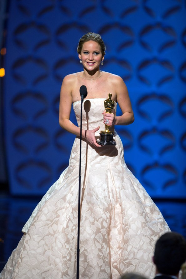 "The Oscar® for performance by an actress in a leading role goes to Jennifer Lawrence for her role in ""Silver Linings Playbook"" during The Oscars® from the Dolby® Theatre in Hollywood, CA, Sunday, February 24, 2013 live on the ABC Television Network. credit: Michael Yada / ©A.M.P.A.S."