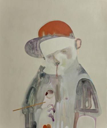 G. Castelli, Taglia e incolla, 2013, acrilico, gesso, olio e smalto su tela,cm 60x50