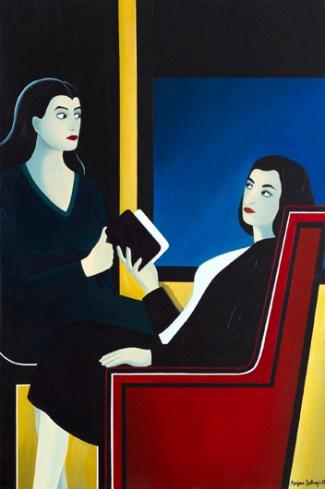 Marjane Satrapi, Senza titolo, 2012, acrilico su carta incollata su tela, 1503x1005-cm-59-3_16-x-39-9_16-in. © Gal. J. de Noirmont Foto: Jean-Philippe Humbert