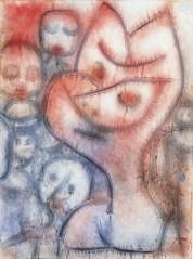 Paul Klee, Gebärde eines Antlitzes (Espressioni di un volto), 1939, colore a colla, acquarello e matita su carta, cm 60x45, Museo del territorio biellese, Città di Biella