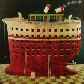 Angelo Palazzini, Una nave che si chiama Milano, 2012, olio su tela, cm 110 x 110