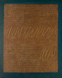 Agostino Ferrari, Pagina, 1963, tempera su tela, 100x80 cm, Collezione privata