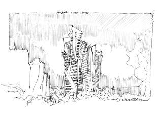 Daniel Libeskind, Fiera Milano Park Tower, 2008, 22.9x30.5, inchiostro su carta da schizzi