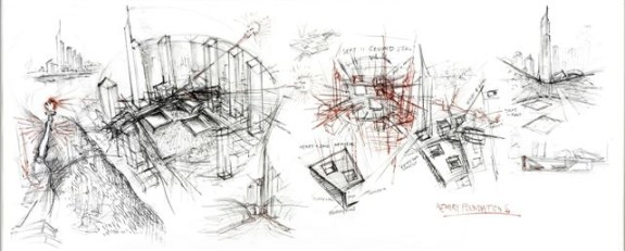 Daniel Libeskind, Libeskind, Word Trade Center Scroll, 2003, 223.5x83.8, carboncino su pergamena