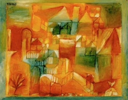 Paul Klee, Fasçsade Braun-grün, 1919, olio, matita e penna su carta su cartone dipinto, cm 24x31, Kunstmuseum Basel, donazione Dr. h.c. Richard Doetsch-Benziger, Basilea 1939