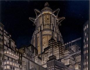 Erich Kettelhut, Bozzetto per la scenografia di Metropolis di Fritz Lang. Veduta notturna con la torre, s.d., pittura a olio e smalto su cartone, cm 43.5x55.5, Stiftung Deutsche Kinemathek, Berlino