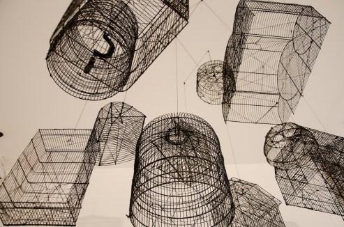 """Andrea Bianconi, Traps for Clouds, 2013, installazione formata da 11 gabbie, dimensioni variabili, 2013, veduta della mostra """"Love Me Tender"""", La Giarina Arte Contemporanea, Verona - Courtesy l'artista e La Giarina"""