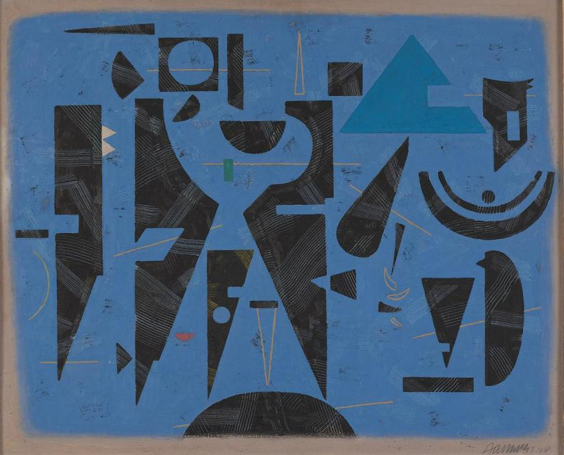 Willi Baumeister, Ruhe und Bewegung II (auf Blau) [Repose and movement II (on blue)], 1947, olio su pannello, cm 81x100, Daimler Art Collection Stoccarda / Berlino, acquisizione 1978
