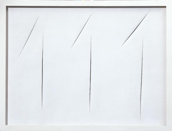 Lucio Fontana, Concetto spaziale, attese, 1965, Idropittura su tela, cm 102x132. Courtesy Tornabuoni Art