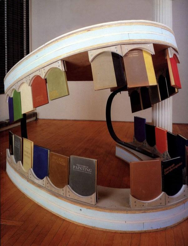 Dennis Oppenheim, Upper Cut, 1992, legno, compensato, schiuma indurita e libri d'arte, cm 150x180x180