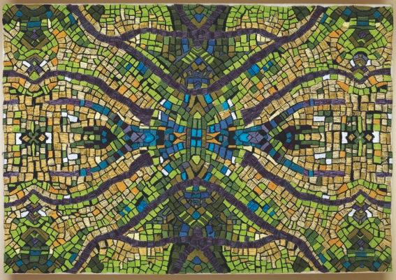 Marialuisa Tadei, traiettorie stellari, tessuto di lino ricamato a mano con filo di cotone, seta e lurex, cm 38.5x27