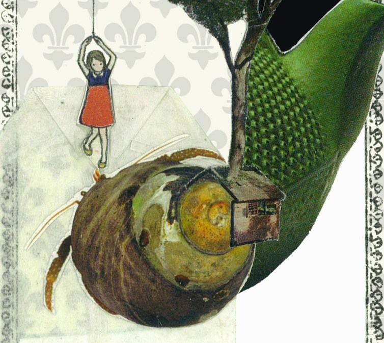 Alice Colombo, Apnea 2 (particolare), 2013, tecnica mista e collage su tela, 12 x 8 cm ca
