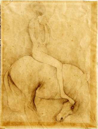 Marino Marini, Cavallo e cavaliere, 1941, matita su carta, cm 38x28.8