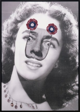 SURREALIZ Who s afraid of Salvador Dali Inject print on Canvas metallic embrodery, paper, artist frame 2008 185x132x8