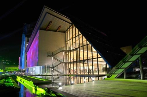 Inaugurazione del MUSE - Museo delle scienze, Trento, veudta notturna. Foto: A. Frisinghelli