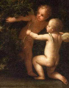 Marcantoni Franceschini (1648-1729), Armida tenta di uccidere Rinaldo addormentato, olio su tela (particolare), Dardi d'Amore, Museo Civico d'Arte, Modena