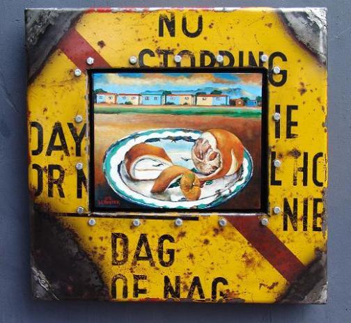 Willie Bester, Still life with orange, mixed media in metal box cm 45x44. Courtesy L'Ariete artecontemporanea, Bologna