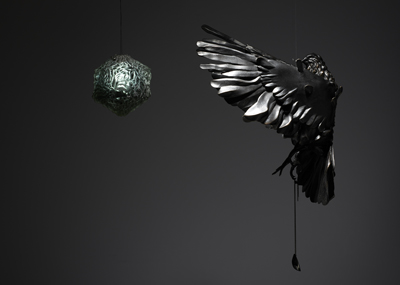 Daniel Woodford, Toward The Light (Bird, Light & Pendent), 2013, bronze, silver and ruthenium, cm 50x50x25 Courtesy Kristin Hjellegjerde-ArtEco Gallery, London