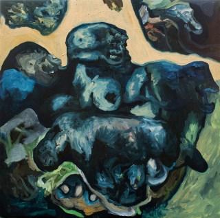 Lorenzo Aceto, Sculture con Teschio, 2013, olio su tela, 40x40cm