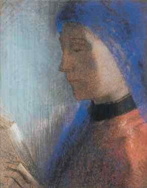 Odilon Redon, La liseuse (La lettrice), 1895-1900 circa, pastello su carta, 37x29 cm, Collezione privata