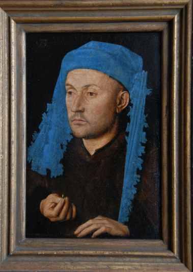 Jan van Eyck, Ritratto d'uomo con il cappello blu - Uomo con l'anello, Art Galleries Muzeul National Brukenthal, Sibiu
