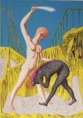 Ettore Tripodi, Amazzone, 2013, tempera e foglia d'oro su carta, 30.5x41.5 cm Courtesy Studio d'Arte Cannaviello